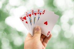 Приток руки покера королевский стоковая фотография rf