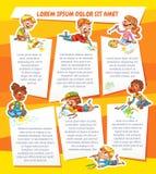 Притяжка детей на бумаге шаблон рекламируя брошюры иллюстрация штока