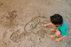 Притяжка на песке Стоковые Изображения RF