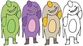 Притяжка руки чудовища чужеземца набора цвета doodle мультфильма печати иллюстрация штока