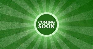 Приходить скоро винтажная кнопка вступления с ретро взглядом представил анимацию в зеленом цвете иллюстрация штока