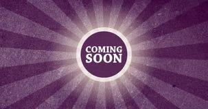 Приходить скоро винтажная кнопка вступления с ретро взглядом представил анимацию в пурпуре иллюстрация штока