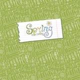 приходя весна Садовые инструменты, предпосылка картины заводов иллюстрация вектора
