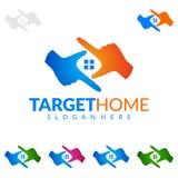 Прицельтесь домой, дизайн логотипа вектора недвижимости с уникально домом Стоковая Фотография