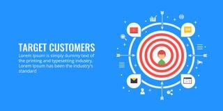 Прицельтесь клиенты, поколение руководства, концепция сегментации рынка Плоская иллюстрация маркетинга дизайна Стоковые Фото