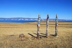 Прицепляя столб на острове Olkhon, Сибире, России Стоковые Фотографии RF