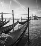 Причаленные гондолы в Венеции, Италии Стоковое Изображение