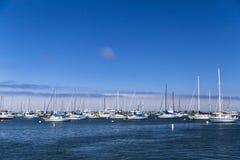 Причаленные и поставленные на якорь парусники в Монтерей преследуют, Калифорния, США стоковое фото