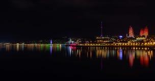 причаленный взгляд корабля порта ночи Стоковое Изображение