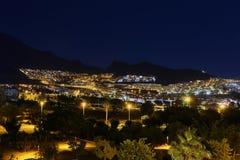 причаленный взгляд корабля порта ночи Стоковое фото RF