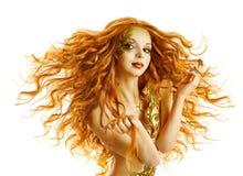 Прическа фотомодели, изолированный стиль причёсок женщины длинный развевая, белизна Стоковые Фото