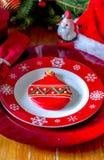 Причудливая установка плиты рождества с милым печеньем сахара Стоковая Фотография