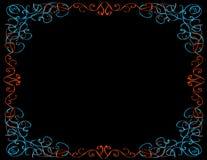 Причудливая граница, черная предпосылка Стоковое Изображение RF