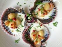 Причудливая еда с scallops и сливк на белой плите Стоковое Изображение RF