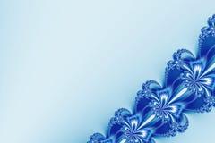 Причудливая раскосная фракталь ленты в голубом и белом ярком блеске, походя цветет Стоковая Фотография RF