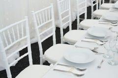 Причудливая таблица установленная для обедающего свадьбы Стоковое Изображение