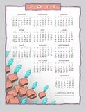 2017 причудливое, artsy календарь границы бесплатная иллюстрация