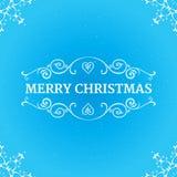 Причудливые богато украшенные границы с текстом с Рождеством Христовым на Иллюстрация штока