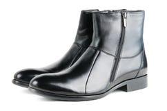 Причудливые черные кожаные ботинки людей Стоковое Фото