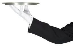 Причудливый головной кельнер держа изолированный поднос, Стоковые Фотографии RF