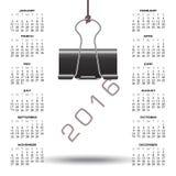 Причудливый календарь зажима 2016 связывателя иллюстрация вектора