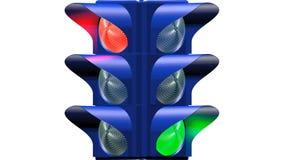 Причудливый светофор на польностью белой предпосылке акции видеоматериалы