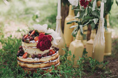 Причудливый торт плодоовощ свадьбы Взгляд сверху Очень вкусная плита плодоовощ outdoors Стоковая Фотография