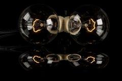 2 причудливых лампочки с отражением Стоковое Изображение RF