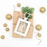 Пришествие украшения картинной рамки подарка рождества золотое Стоковые Фотографии RF