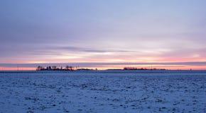 пришел заход солнца тумана вверх по зиме Стоковые Фото