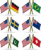 приятельство американских флагов Стоковое фото RF