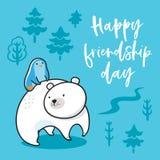 приятельство дня счастливое Иллюстрация вектора пингвина kawaii смешного ехать полярный медведь бесплатная иллюстрация