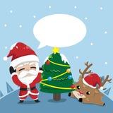 Приятельство Санта Клаус и маленькие олени в рождестве иллюстрация штока