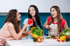 Приятельство и здоровый образ жизни варя дома Стоковые Изображения RF