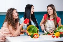 Приятельство и здоровый образ жизни варя дома Стоковое Изображение