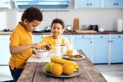 Приятные мальчики есть хлопья для завтрака Стоковые Изображения RF