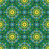 Приданная квадратную форму предпосылка - орнаментальная безшовная картина в зеленом цвете Стоковые Фотографии RF