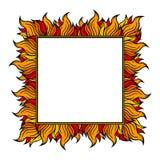 Приданная квадратную форму рамка с спуртами пламени также вектор иллюстрации притяжки corel Стоковое Фото