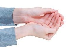 2 приданная форму чашки ладонь - жест рукой Стоковое фото RF