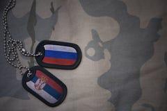 пробел армии, регистрационный номер собаки с флагом России и Сербия на хаки предпосылке текстуры Стоковые Изображения RF