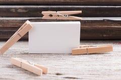 Пробел визитной карточки на деревянной предпосылке Стоковая Фотография