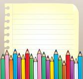 пробел crayons страница блокнота Стоковые Фотографии RF
