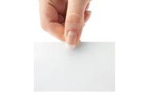 Пробел карточки в руке стоковые фотографии rf