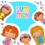 Пробел предпосылки вектора с летнего лагеря детей Стоковая Фотография