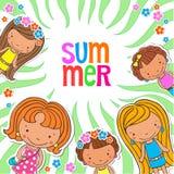 Пробел предпосылки вектора с летнего лагеря детей Стоковые Изображения