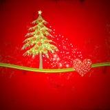 Пробел рождества с елью и лоснистыми сердцами Стоковые Фото