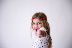Пробивать маленькой девочки Стоковое Изображение RF