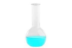 Пробирка при голубая жидкость, изолированная на белой предпосылке Медицина, химия Горизонтальная рамка Стоковое фото RF