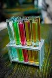Пробирки в верстаке в химической лаборатории на деревянной предпосылке конец вверх стоковые изображения rf