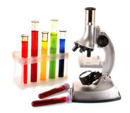 пробирки микроскопа металла лаборатории Стоковые Фото